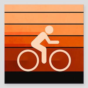 """Biking Orange Square Car Magnet 3"""" x 3"""""""