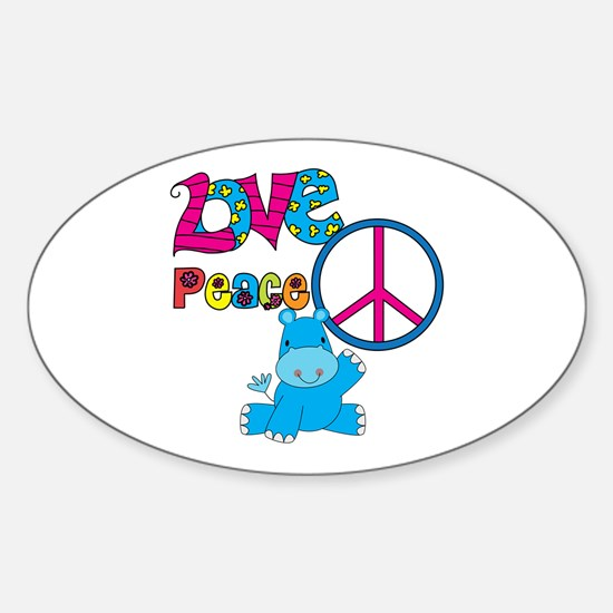 Love Peace Hippos Sticker (Oval)