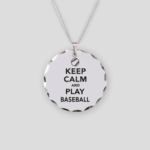 Keep calm and play Baseball Necklace Circle Charm