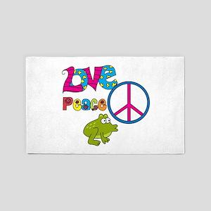 Love Peace Frogs 3'x5' Area Rug