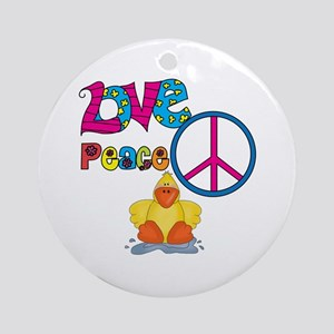 Love Peace Ducks Ornament (Round)