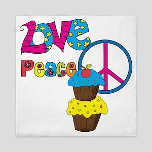 Love Peace Cupcakes Queen Duvet