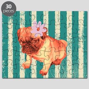 retro pug tropical stripes Puzzle