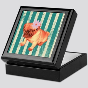retro pug tropical stripes Keepsake Box