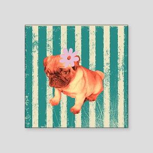 """retro pug tropical stripes Square Sticker 3"""" x 3"""""""