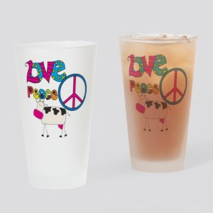 Love Peace Cows Drinking Glass