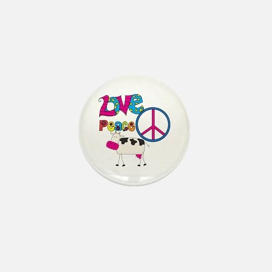 Love Peace Cows Mini Button