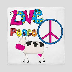 Love Peace Cows Queen Duvet
