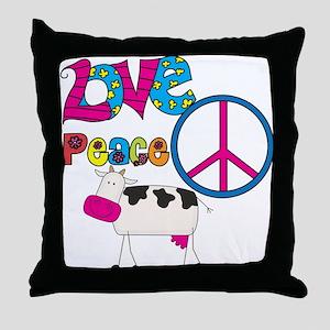 Love Peace Cows Throw Pillow