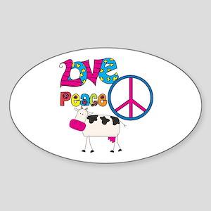Love Peace Cows Sticker (Oval)