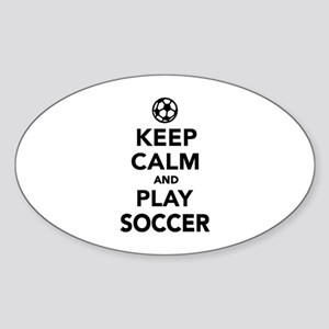 Keep calm and play Soccer Sticker (Oval)