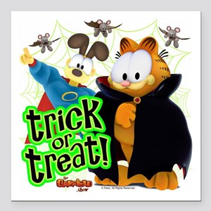 """Garfield Show Trick or Treat Square Car Magnet 3"""""""