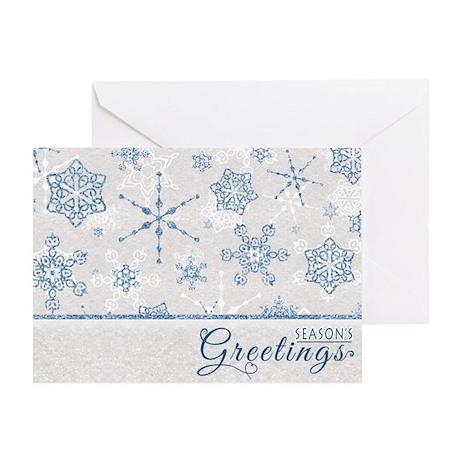 Seasons Greetings Elegant Blue Snowflake Glitz Gre