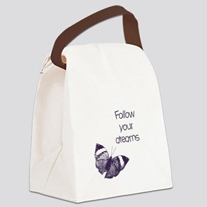 Follow Your Dreams Butterfly Canvas Lunch Bag