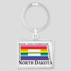 North Dakota motto equality blk Keychains