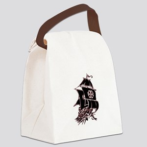 Black Pirate Ship Canvas Lunch Bag