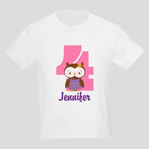 Personalized 4th Birthday Owl T-Shirt