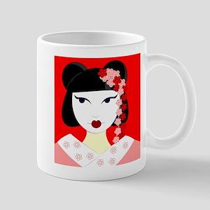 Cute Geisha Girl Red with Pink Flowers Mugs