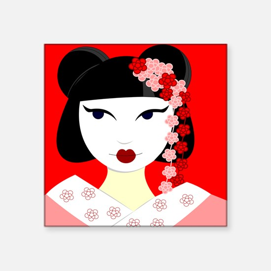 Cute Geisha Girl Red with Pink Flowers Sticker