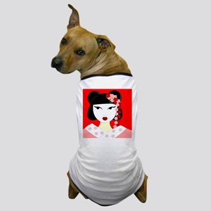 Cute Geisha Girl Red with Pink Flowers Dog T-Shirt