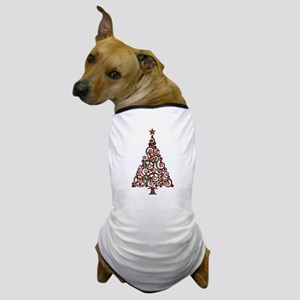 Christmas Plaid Swirly Tree Dog T-Shirt