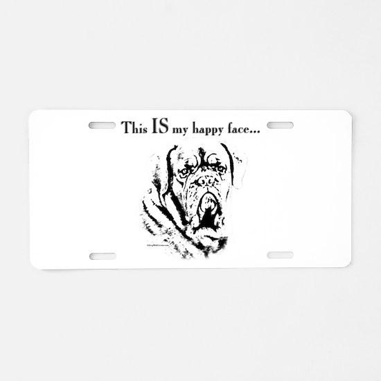 Dogue de Bordeaux Happy Face Aluminum License Plat