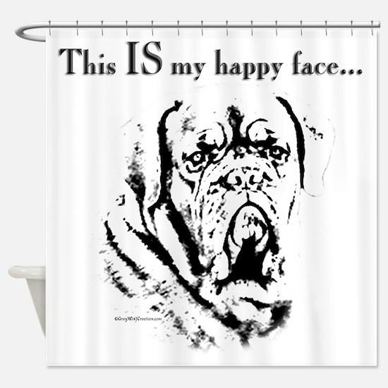 Dogue de Bordeaux Happy Face Shower Curtain