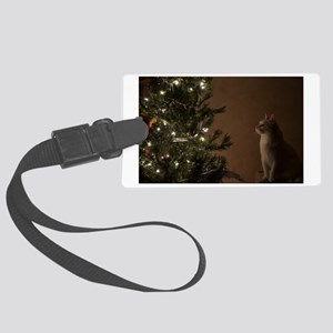 Christmas Cat Large Luggage Tag