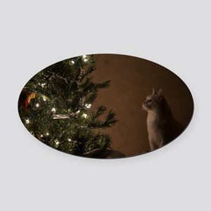 Christmas Cat Oval Car Magnet