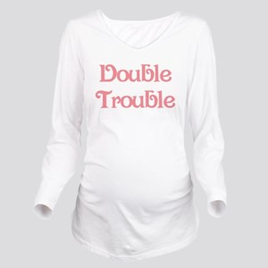 Double Trouble Pink Long Sleeve Maternity T-Shirt