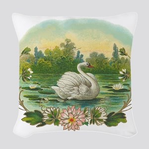 Swimming Swan Woven Throw Pillow