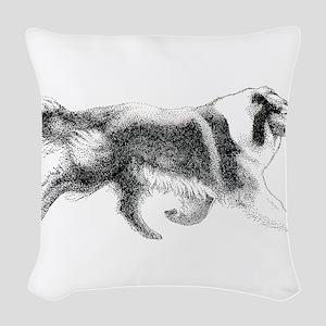 Running Collie Woven Throw Pillow
