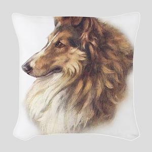 Vintage Sable Collie Woven Throw Pillow