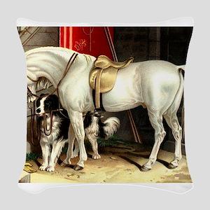 White Horse Woven Throw Pillow