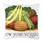 grow your veggies Woven Throw Pillow