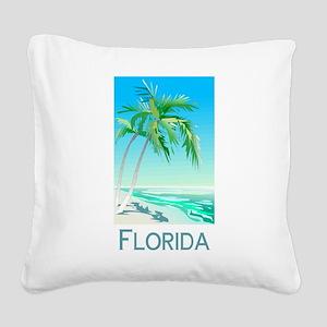 Florida Palms Square Canvas Pillow