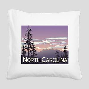 North Carolina Mountains Square Canvas Pillow