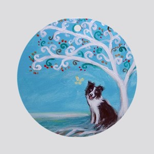 Border Collie Tree of Life Ornament (Round)