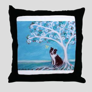 Border Collie Tree of Life Throw Pillow