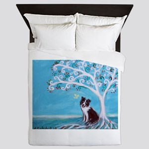 Border Collie Tree of Life Queen Duvet