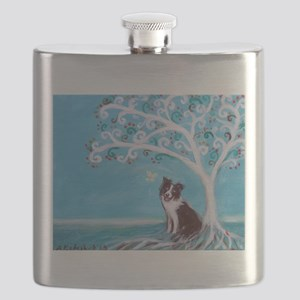 Border Collie Tree of Life Flask