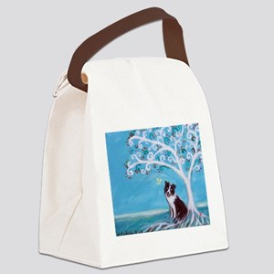 Border Collie Tree of Life Canvas Lunch Bag
