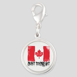 Mont-Tremblant Grunge Flag Silver Round Charm