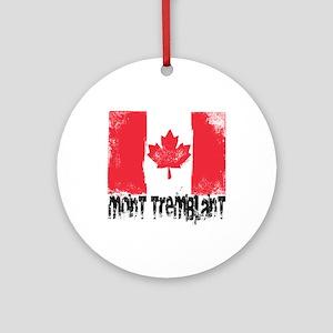 Mont-Tremblant Grunge Flag Ornament (Round)