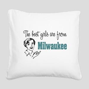 Best Girls Milwaukee Square Canvas Pillow