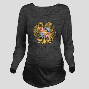 Armenian Coat of Arms Long Sleeve Maternity T-Shir