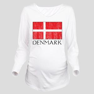Denmark Flag Long Sleeve Maternity T-Shirt