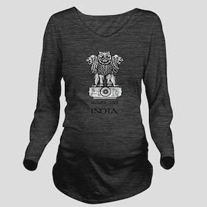 Emblem of India Long Sleeve Maternity T-Shirt