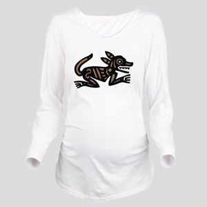 Tribal Dog Long Sleeve Maternity T-Shirt