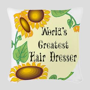 Worlds Greatest Hair Dresser Woven Throw Pillow